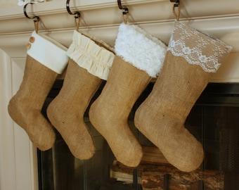 The Classic Cream Line- Set of Four (4) Burlap Stockings, Christmas Burlap Stockings