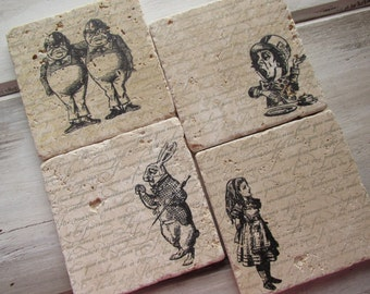 Alice in Wonderland Coasters. Christmas Gift.  Set of Four Coasters. Mad Hatter. Tea party. Valentines Day, Alice gift. Wonderland
