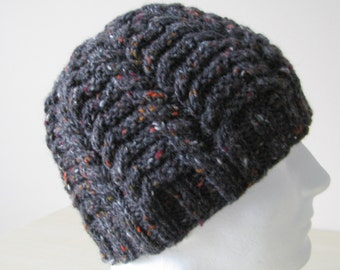 """Instant Download Knit Hat Knitting Pattern for Men's Hat """"Rex' fitted cabled winter hat,"""