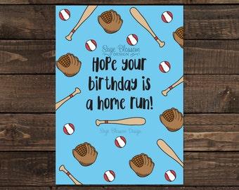 Printable Baseball Birthday Card - Homerun Birthday - Baseball Fan - Instant Download - Digital Card Design
