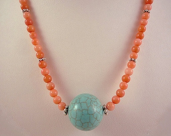 Turquoise Coral Necklace Turquoise Peach Coral Necklace Salmon Coral Turquoise Necklace Coral Bead Necklace Turquoise Salmon Coral Strand