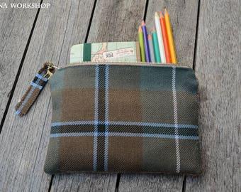Scottish tartan clutch, wool gift, tartan fabric pouch, gift, tartan gifts, plaid clutch, make up pouch, douglas tartan, scottish fabric