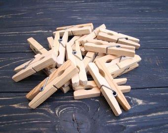 Vintage Wood Clothespins Natural wooden clips 20 pcs Primitive Laundry Soviet clothespin Rustic Farmhouse Decor USSR Memorabilia