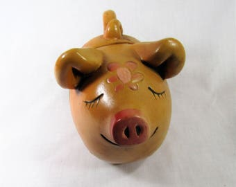 Vintage Lego Piggy Bank - Floral - Japan - Retro Bank