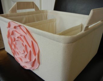 "LG Diaper Caddy(choose COLORS)12""x10""x6""  Two Dividers-Fabric Storage Organizer-Baby Gift-""Pastel Pink  Rose on Cream/Natural"""