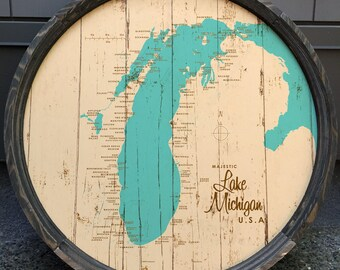 Lake Michigan Map Barrel End