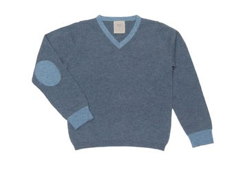 100% Cashmere Royal Ancil Boys V-necked Sweater - Gentleman Blue with Light Blue Elbow Patches