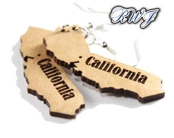 California, Wooden Earrings for the California lover.