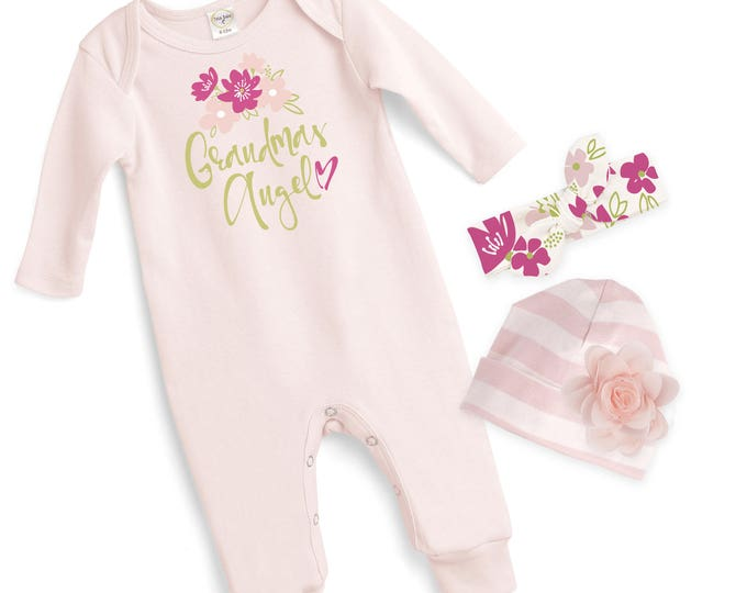 Grandma's Baby Girl Outfit, Newborn Baby Girl Coming Home Gift, Baby Girl Take Home Hospital Outfit Grandma Tesa Babe