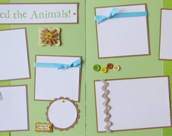 Premade 12x12 Scrapbook Pages - ZoO or PLaY layout for kids boy girl -- DON'T FEED the ANIMALS! -- baby, family album, summer, spring, trip