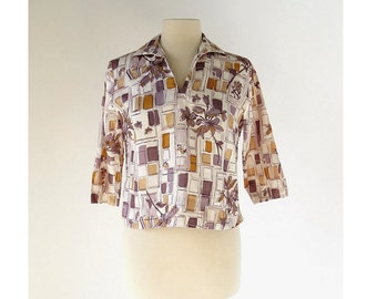 Vintage 1960s Top | Bird in the City | Novelty Print Blouse | Deadstock | M L