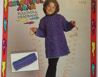 Colourful Aran Pullover & Headband knitting pattern for kids sizes 2 - 12, worsted weight yarn, Bernat 1312