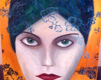 Woman face painting oil painting