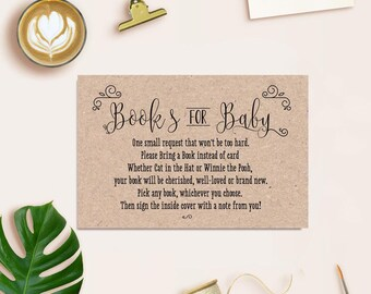 Rustic Book Instead Of Card For Baby Shower, Baby Shower Book Instead Of  Card Insert, Baby Shower Bring A Book