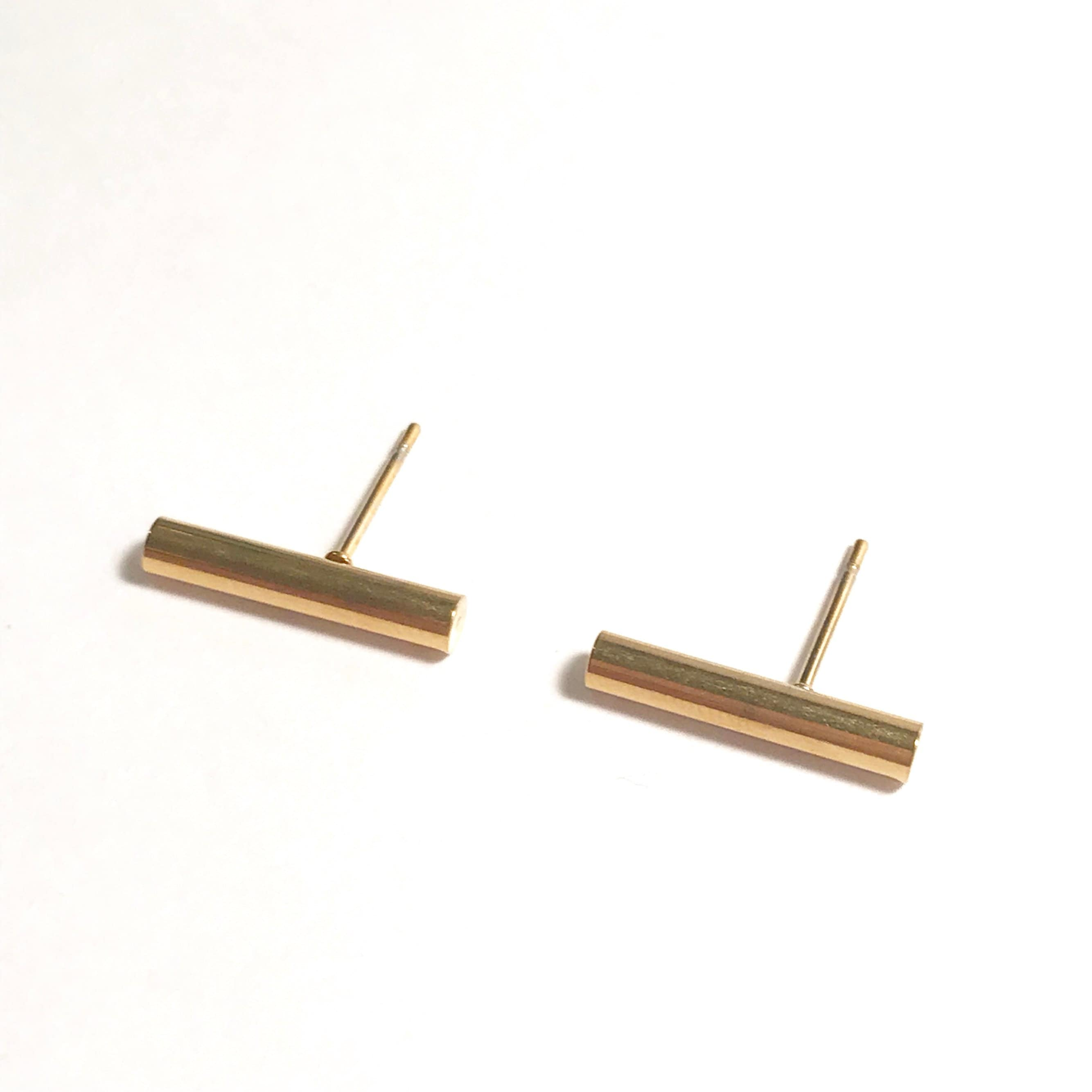 gunn massive stud gold sara img plated silver line products sterling earrings