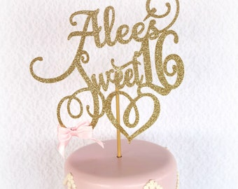 Sweet 16 Cake Topper - ANY NAME -  Sweet 16 Party Decorations - Sweet 16 Party Decor - Sweet 16 Birthday Party Cake Topper - Girl 16th Cake