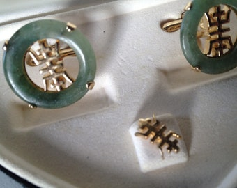 Swank Arts of the World Oriental Jade n Gold Cufflinks & Tie Pin - 1962
