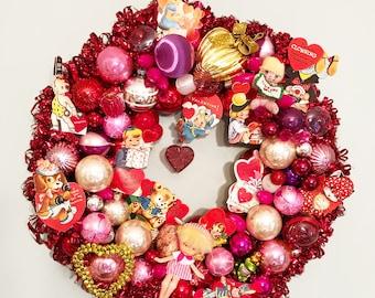 SALE Vintage Valentines Day Wreath - Valentine Wreath - Ornament Wreath -Vintage Shiny Brights Ornaments- Pink Ornaments Red Glass