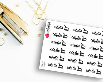 Cardio | Running, Walking, Dancing, Jogging, Treadmill Doodle, Exercise, Work Out, Fitness - Hand Drawn Hand Lettered Planner Stickers