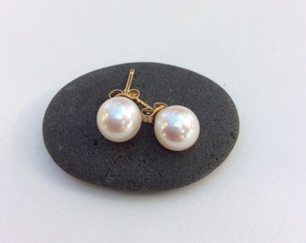 Pearl And Gold Stud Earrings