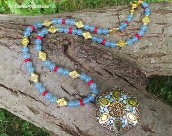 Tibetan Nepalese Necklace, Aquamarine Necklace, Gemstone Necklace, Bohemian Necklace,  Tibetan Pendant Necklace, Ethnic Necklace