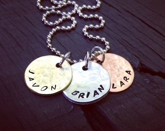 Father's Mixed Metal Hammered Discs Necklace | Children's Names Necklace | Father's Necklace | Father's Day Necklace Gift | Gift For Dad