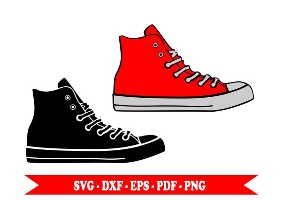 Svg, svg, shoes sneaker sneakers silhouette clip art in svg format, eps,  dxf, png, pdf. For Silhouette, Cricut, Cameo vinyl, embroidery