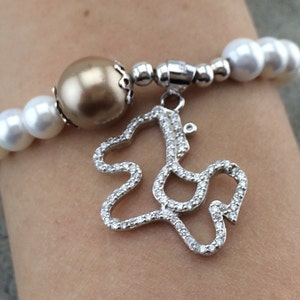 Precious~~~ sterling silver 925 Little Pony bracelet with Diamonds and artificial pearl