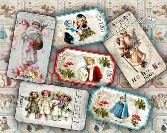 Christmas Ticket - digital collage sheet - set of 6 strips  - Printable Download