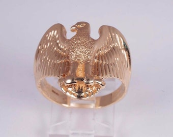 14K Yellow Gold Mens American Eagle Ring , Size 10.75