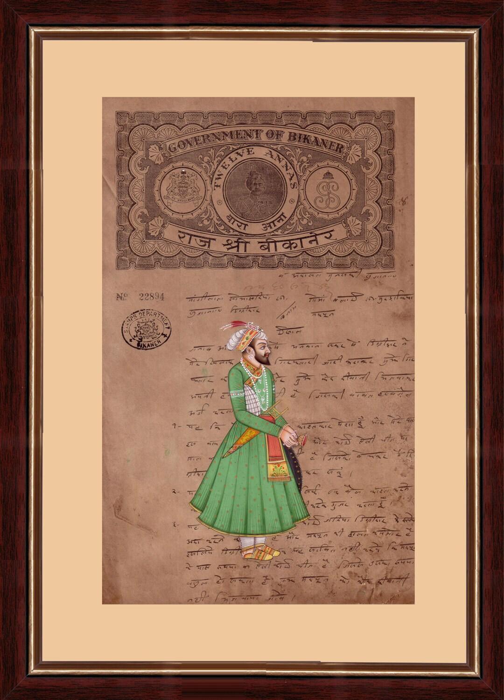 Moghul-Zeit Porträt \'königlichen Moghul-König stehend\'