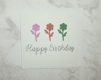 Happy Birthday Flower Cut card