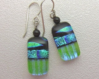 Lime Marquis Dichroic Dangles, Fused Glass Jewelry from NC