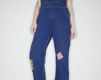 Cutest ever vtg 70s patchwork farmer overalls