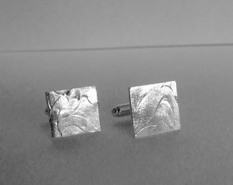 Sterling silver square cuff links