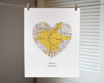 Denver Colorado Heart Map Print - Denver Art Print - Colorado Art - Custom City Print