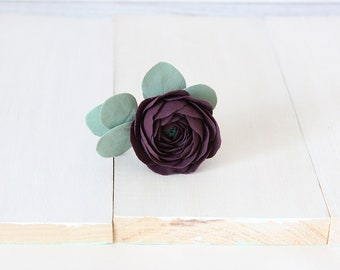 Ranunculus hair pin, ranunculus hair clip, wedding hair pin, ranunculus hair piece, polymer clay hair pin, floral wedding hair pin