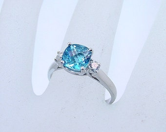 AAAA Swiss Blue Topaz   1.70 Carats   Diamond 14K white gold ring 0726