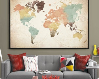 World Map with Countries Watercolor World Map Poster, Countries Large Push Pin Travel World Map Print, Office or Home Decor wall art   (L63)