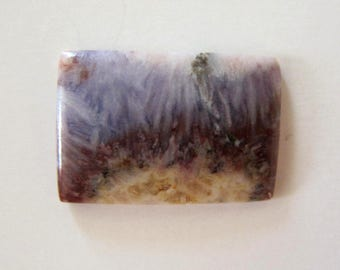 Small Sheep Bridge Saginite free-form rectangular tile designer cabochon in  lavender, brown, and cream. 17 x 25 mm. 123L0084