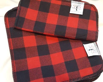 ECO CLOTH WIPES / Set of 12 / Red Buffalo Plaid Cotton Cloth Wipes