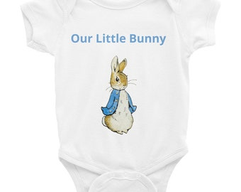 Peter Rabbit Infant Bodysuit -our little bunny, cute baby design by Beatrix Potter. A lovely baby gift for new parents
