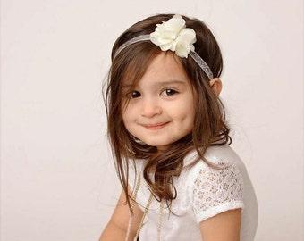 Ivory & Silver Glitter Headband -  Rhinestone Pearl - Flower Girl - Headband - Newborn Infant Baby Toddler Girls Adult