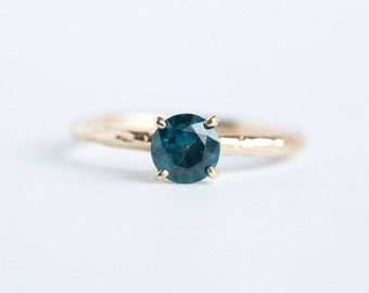 SOLD : Teal Blue Montana Sapphire Solitaire Ring - Sapphire Engagement Ring - Hand Carved Recycled Gold Ring with Blue Sapphire by Anuev