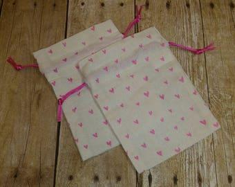 Adorable Personalized Pink Glittery Hearts Drawstring Giftbag Favor Bag Bag Small Sack Gift Bag Customization