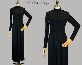 Rodrigues Jersey Knit Dress XS S Vintage 70s Black Minimalist Gown ~ Vendome Eleventh Boutique