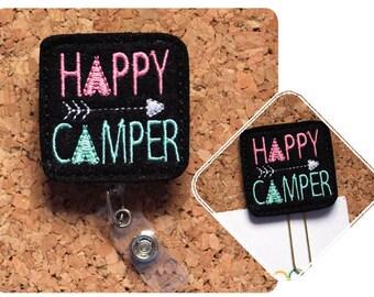 Happy Camper Planner Clip, Felt Paper Clip, Refrigerator Magnet, Cute Brooch Pin, Planner Accessories, Ribbon Bookmark, Badge Reel, 1702