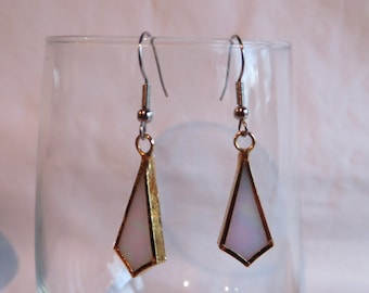 White and Gold Dangles, Earrings, White, Gold, Dangle