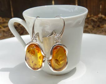 """Baltic Amber Jewelry Honey Earrings Natural Sparkling 1.75"""" 11.2 gram 925 Silver"""