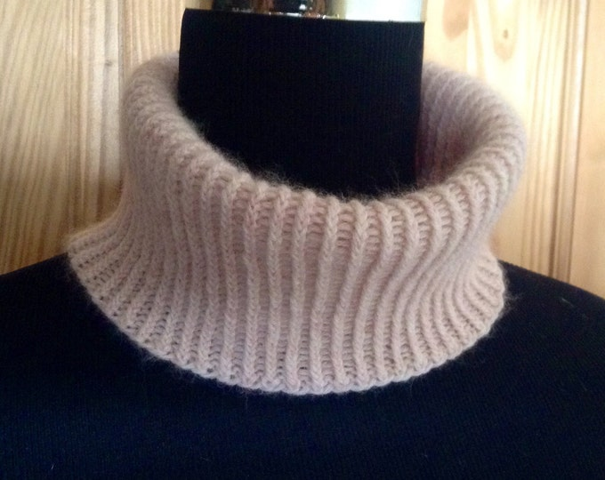 Cashmere spring mini snood / collar in pale oat by Willow Luxury